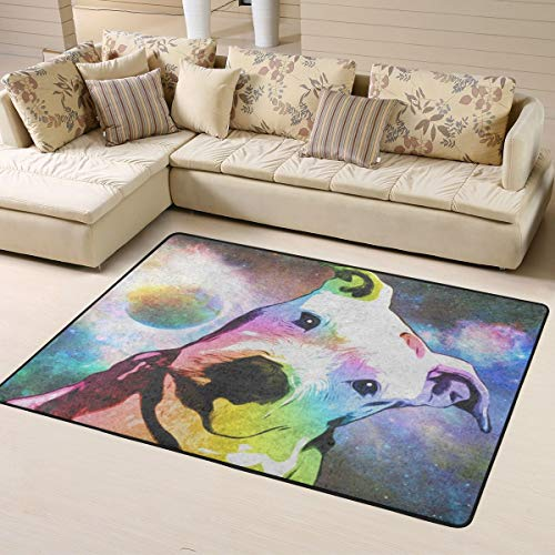 Soft Area Rugs for Bedroom Kids Room Children Playroom Non-Slip Living Room Carpets Nursery Mat Home Decor 63 x 48 inches (Pit Bull Rainbow Series Pop Art)