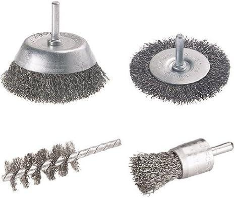 7 tlg.Drahtbürstensatz  mit Schaft für Bohrmaschine  und  Handdrahtbürste