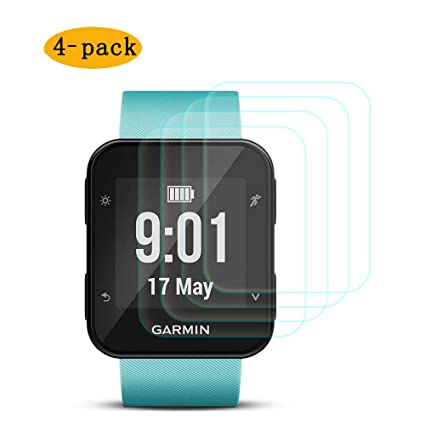 Screen Protector for Garmin Forerunner 35,CKANDAY 4 Pack Tempered Glass Protective Films Anti-Scratch High Definition Full Coverage Cover Smartwatch
