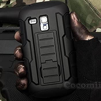 Galaxy S3 Mini Case, Cocomii Robot Armor NEW [Heavy Duty] Premium Belt Clip Holster Kickstand Shockproof Hard Bumper Shell [Military Defender] Full Body Dual Layer Rugged Cover Samsung I8190 (Black)
