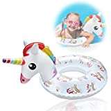 WISHTIME Kids Pool Inflatable Swimming Ring Unicorn Flamingo Pool Float Swimming Ring for Kids 4-7 years Boy Girls Diameter 10 inch (Unicorn)