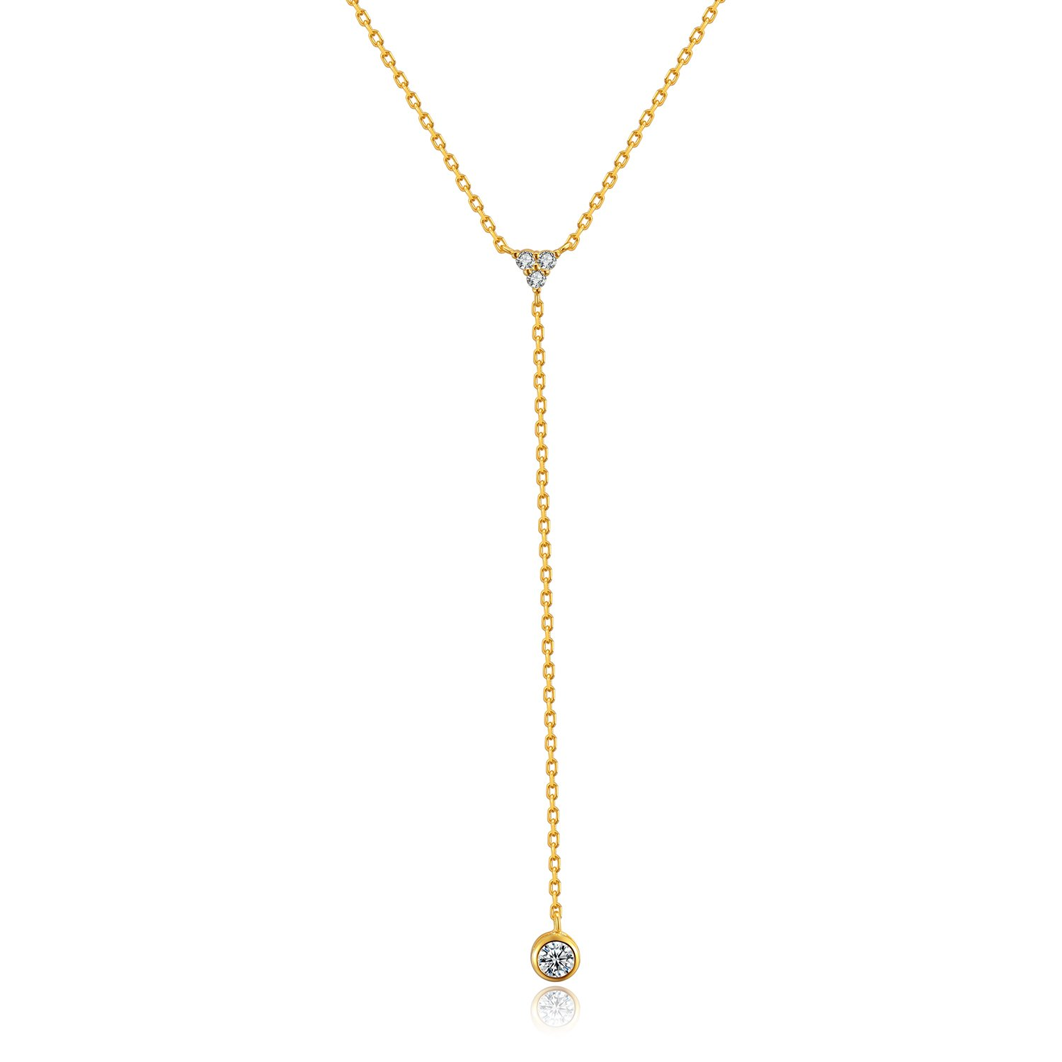 Metzakka Sterling Silver Lariat Necklace, 18k Gold Plated Chic Minimalist Drop Y Chain Necklace for Women