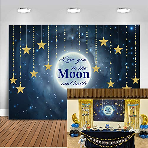 Mocsicka Twinkle Star Baby Shower Backdrop 7x5ft Love You to The Moon and Back Gender Reveal Photo Booth Backdrops Twinkle Twinkle Little Star Newborn Baby Photography Background