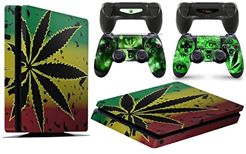 Gizmoz n Gadgetz PS4 Slim Console Weed Skin Decal Vinal Sticker + 2 Controller Skins Set