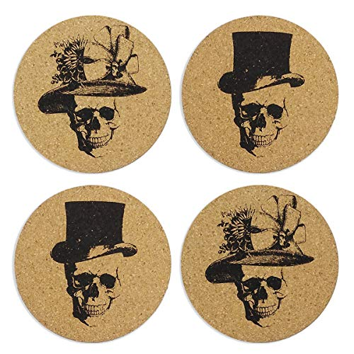 Skull Art Cork Coasters, Funny skull Halloween gifts Decor Drink Coasters, Living Room, Home Decor, Protects Furniture from Damage.–Set of -