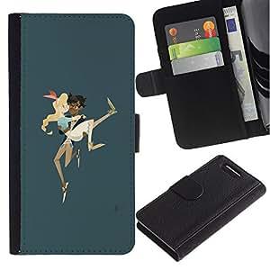 iBinBang / Flip Funda de Cuero Case Cover - Boy Llevar Chica Pareja Amor Arte Correr - Sony Xperia Z3 Compact