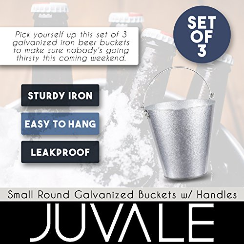 Juvale Set of 3 Small Round Galvanized Buckets - Buckets with Handle, Iron Beer Buckets for Parties, Metal Pails, Silver - 7.2 x 7.2 x 7.2 Inches by Juvale (Image #3)
