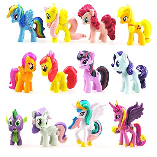 Little Pony Set 12 pcs Toys | PVC Mini Figure Collection Playset | 1.5-2' Tall Little Pony Figure Toys for Kids Cupcake Cake Toppers