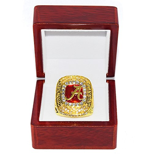 UNIVERSITY OF ALABAMA CRIMSON TIDE (Jalen Hurts) 2016 SEC CHAMPIONS (Roll Tide) Collectible High-Quality Replica NCAA Football Gold Championship Ring with Cherrywood Display Box Trackside Autographs