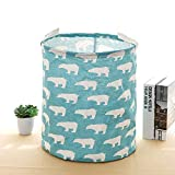 Large Waterproof Foldable Laundry Hamper Bucket,Dirty Clothes Laundry Basket, Bin Storage Organizer for Clothing Storage, Toy Storage, Baby Product's Storage Concise Nordic Design(Blue,Polar Bear)