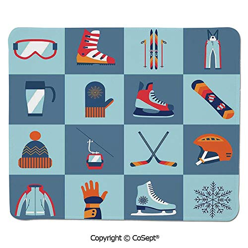 Gaming Mouse Pad,Ice Skating Winter Sports Skiing Boot Cap Glasses Glove Helmet Skates Snowboard Print,Non-Slip Water-Resistant Rubber Base Cloth Computer Mouse Mat (11.81