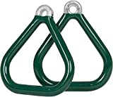 Swing Set Stuff Commercial Coated Triangle Trapeze Rings with SSS Logo Sticker, Green