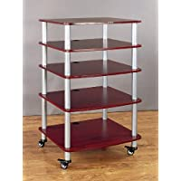 VTI AR405 5 Shelf Audio Rack with Casters - Silver / Cherry