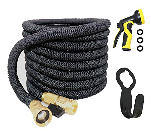 Garden Hose,Water Hose ,100ft Flexible Expanding Hose Expandable Garden Hose Extra Strength Fabric 5000D High temperature Latex and Solid Brass Connector 9 Functions Spray Nozzle for RV Car Garden