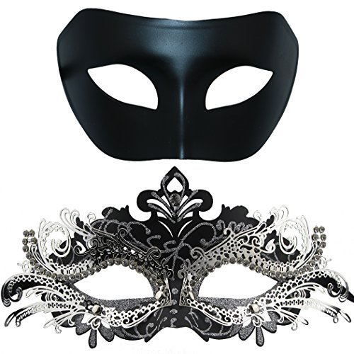 Couples Masquerade Mask, Venetian Shiny Metal Rhinestone Halloween Costume Party Mask 2 Pack (Black&Black-Sliver) -
