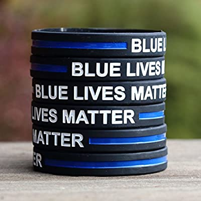 50 Blue Lives Matter Thin Blue Line Silicone Wristbands in Support Memory Police Officer