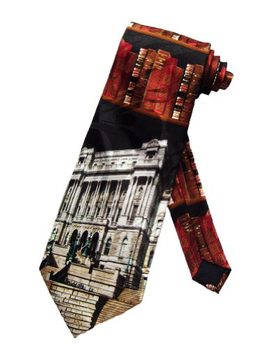 Library Of Congress Dc - Steven Harris Library of Congress Librarian Books Necktie - Black - One Size Neck Tie