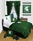 Michigan State Spartans 8 Pc QUEEN Comforter Set - Locker Room Series - Entire Set Includes: (1 Comforter, 1 Flat Sheet, 1 Fitted Sheet, 2 Pillow Cases, 2 Shams, 1 Bedskirt) SAVE BIG ON BUNDLING!