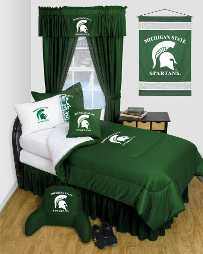 Michigan State Spartans 8 Pc QUEEN Comforter Set - Locker Room Series - Entire Set Includes: (1 Comforter, 1 Flat Sheet, 1 Fitted Sheet, 2 Pillow Cases, 2 Shams, 1 Bedskirt) SAVE BIG ON BUNDLING! by Sports Coverage