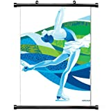 Wall Scroll Poster with Olympiad Figure Skating Vancouver Sport Home Decor Wall Posters Fabric Painting 23.6 X 35.4 Inch