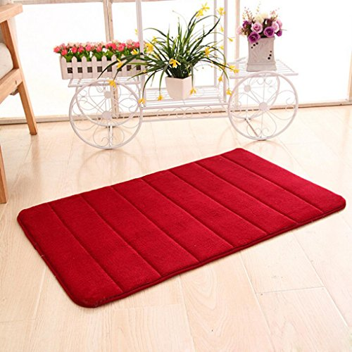 YJYdada Memory Foam Mat Absorbent Slip-Resistant Pad Bathroom Shower Bath Mats (Red) from YJYdada