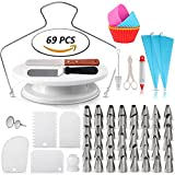 #2: Cake Decorating Supplies - Rotating Turntable Stand | Professional Cupcake Decorating Kit | Baking Supplies |, Frosting & Piping Bags and Tips Set, Icing Spatula and Smoother, Pastry Tools | Cupcake