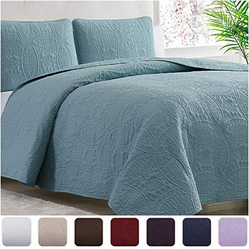 Mellanni Bedspread Coverlet Set Spa-Blue