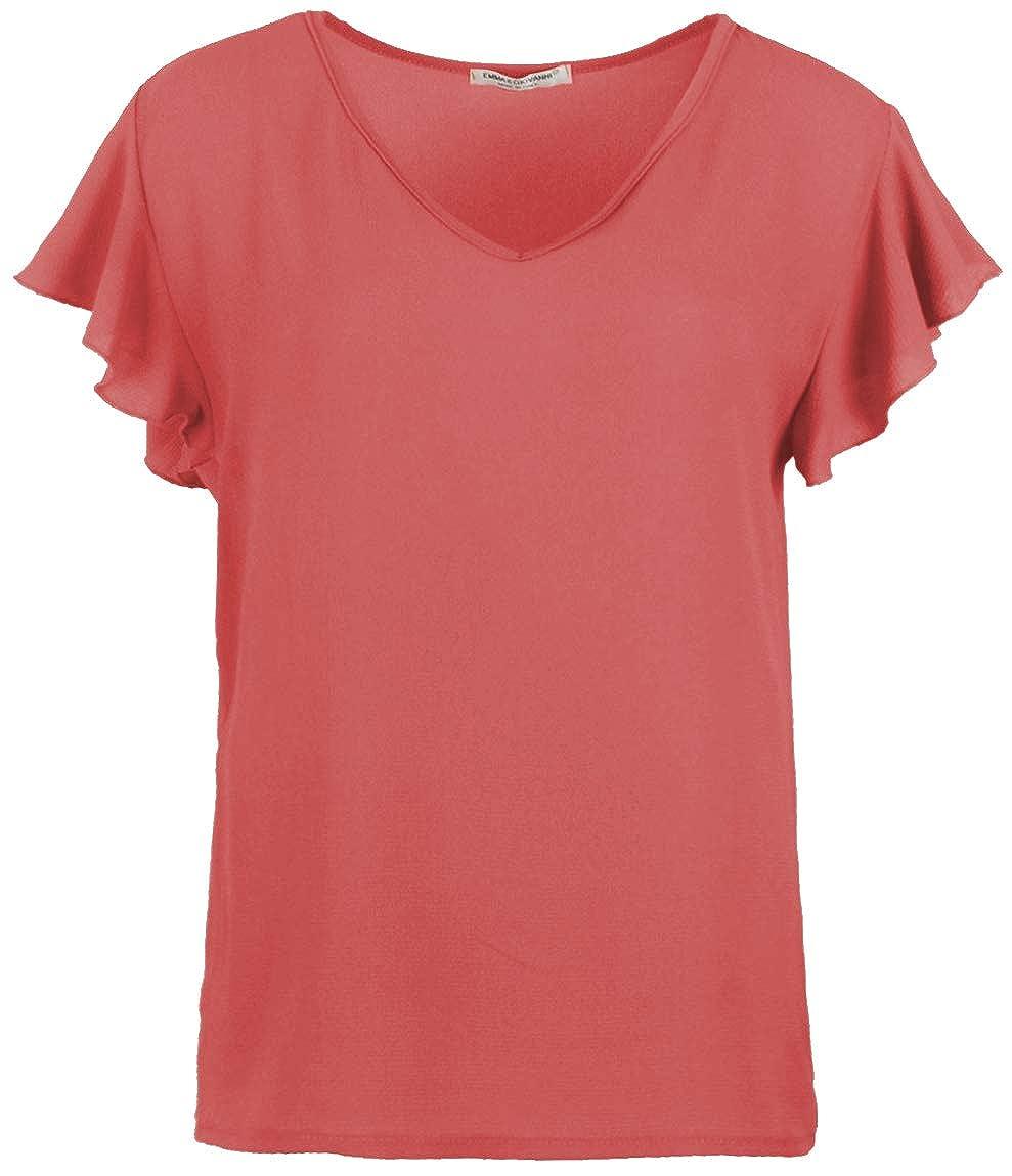 Emma /& Giovanni Damen Chiffon Bluse T-Shirt//Oberteile Oversize mit Kurzarm Segelstoffe