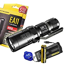 Nitecore EA11 900 Lumens Cree XM-L2 U2 LED Flashlight with a Genuine Nitecore IMR 14500 Rechargable Battery, Nitecore UM10 Digital USB Charger, Lumen Tactical Keychain Light