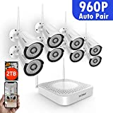 SAFEVANT 8CH 1080P Security Camera System Wireless with 2TB Hard Drive,8PCS 960P 1.3 Megapixel Indoors Outdoors Wireless Home IP Cameras,NO Monthly Fee