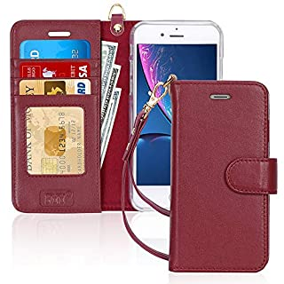 """FYY Case for iPhone 8 Plus/iPhone 7 Plus,[Kickstand Feature] Luxury Genuine Leather Wallet Case Flip Folio Cover with[Card Slots][Wrist Strap] for Apple iPhone 8 Plus 2017/7 Plus 2016 (5.5"""") WineRed"""