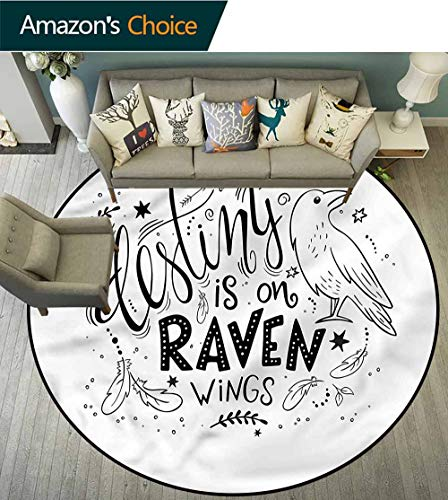 (RUGSMAT Raven Area Rugs Ring 3D Non-Slip Rug,Feathers Stars and Circles Non Slip Rug Round-63)