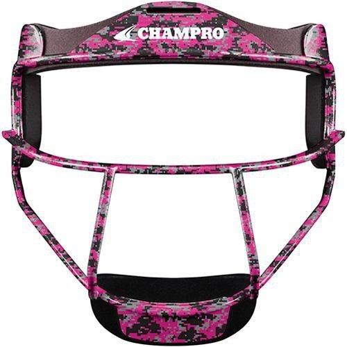 Softball Face Mask (CHAMPRO The Grill Defensive Fielder's Facemask for Softball in 7 Colors & Two Sizes (Pink Camo, Youth - 6 ¼ - 6 ¾))