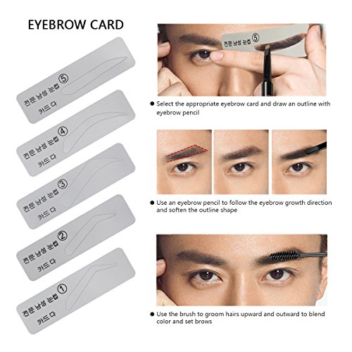 SENXILLER Eyebrow Kit Razor Pencil Brush Stencil Scissors