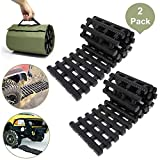 """RELIANCER 2PC Traction Tracks Mats TPR 31.5"""" L Tire Recovery Track Pad Roll Car Vehicle Tyre Traction Boards Tire Ladder Track Grabber Auto Emergency Traction Aid w/Bag for Off-Road Mud Snow Ice Sand"""