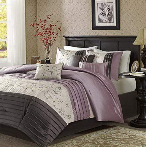 Hemau Premium New Soft Serene Queen Size Bed Comforter Set Bed in A Bag - Purple, Embroidered – 7 Pieces Bedding Sets – Faux Silk Bedroom Comforters | Style 503194129 ()