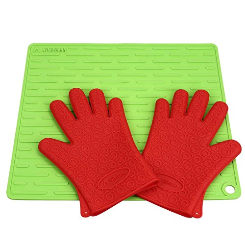 Avery Barn Premium Non Slip Silicone Heat Resistent Glove Mitt & Trivet Mat Set