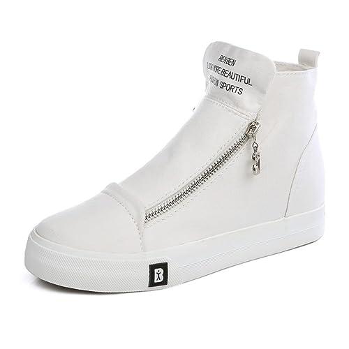 Estudiantes un color lona otoño chicas/Zapatos ocasionales de alta ayuda agregando/Zip plano casuales zapatos-C Longitud del pie=24.3CM(9.6Inch) cvp5G