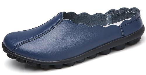 Yooeen Mocasines de Cuero Mujer Verano Chanclas Loafers Zapatillas Cómodo Zapatos de Barco Mujeres Zapatos de Conducción: Amazon.es: Zapatos y complementos