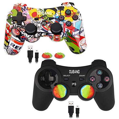 2 Pack PS3 Controller Wireless Dualshock 3 - OUBANG PS3 Remote for Playstation 3,The Best Choice for Gift (Graffiti+Black) (Ps3 Controller Rainbow)