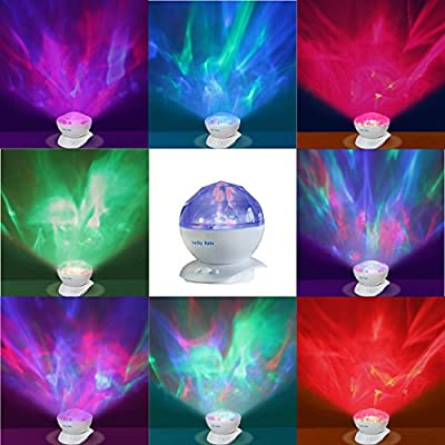 Lucky Rain Aurora Borealis Colored Changing LED Sleep Night Light Projector with Music Speaker Relaxing Soothing Ceiling Projector Lamp For Living Room Bedroom