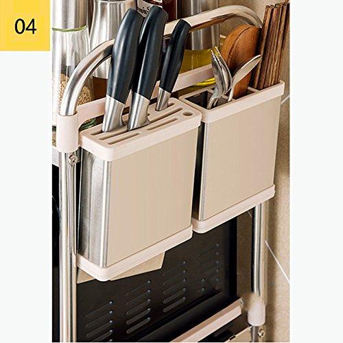 ZfgG ZfgG ZfgG Estante de la cocina de 3 niveles Estante de horno de microondas de acero inoxidable, Unidad de almacenamiento multifuncional permanente Estante con ganchos para colgar ( Tamaño : 69.5 39 79 cm ) efecd7