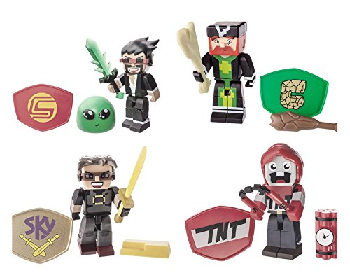 4 Tube Heroes Exploding TNT, Caveman Films, Gaming CaptainSparklez and Tube Heroes Sky Action Figure, with Accessories.( Bundle Toys)