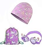 FUNOWN 3 in 1 Unicorn Swim Cap + Swim Goggles + Drawstring Beach Bag Set for Kids, Waterproof Waterproof, No Leaking, Anti-Fog, UV Protection Comfortable Fit for Children, Girls ...(Purple Unicorn Set)