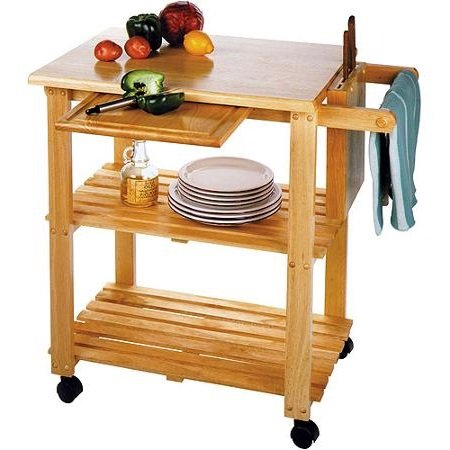 Kitchen Storage Cart With Solid Wood Cutting Board, Knife Block, Makes The  Perfect Microwave