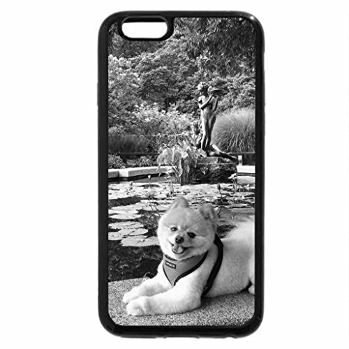 iPhone 6S Plus Case, iPhone 6 Plus Case (Black & White) - Dog by the pond.