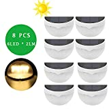 Solar Fence Lights, ALightUp 6 LED IP55 Waterproof Wall Mounted Decorative Deck Lighting, Auto ON / OFF Fence Lamp for Patio,Deck,Yard,Garden,Home,Driveway,Stairs,Outside Wall (Warm White, 8PACK) For Sale