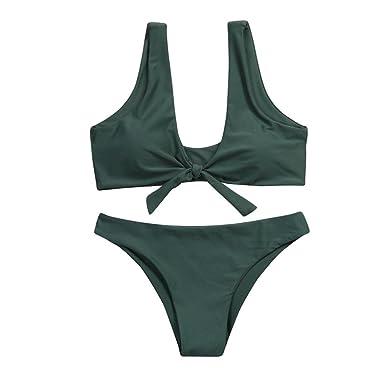 ea812a4cb85e7 Feixiang Women s Bikini Set Knotted Padded Thong Bikini Mid Waisted Scoop  Swimsuit Beach Cute Solid Color