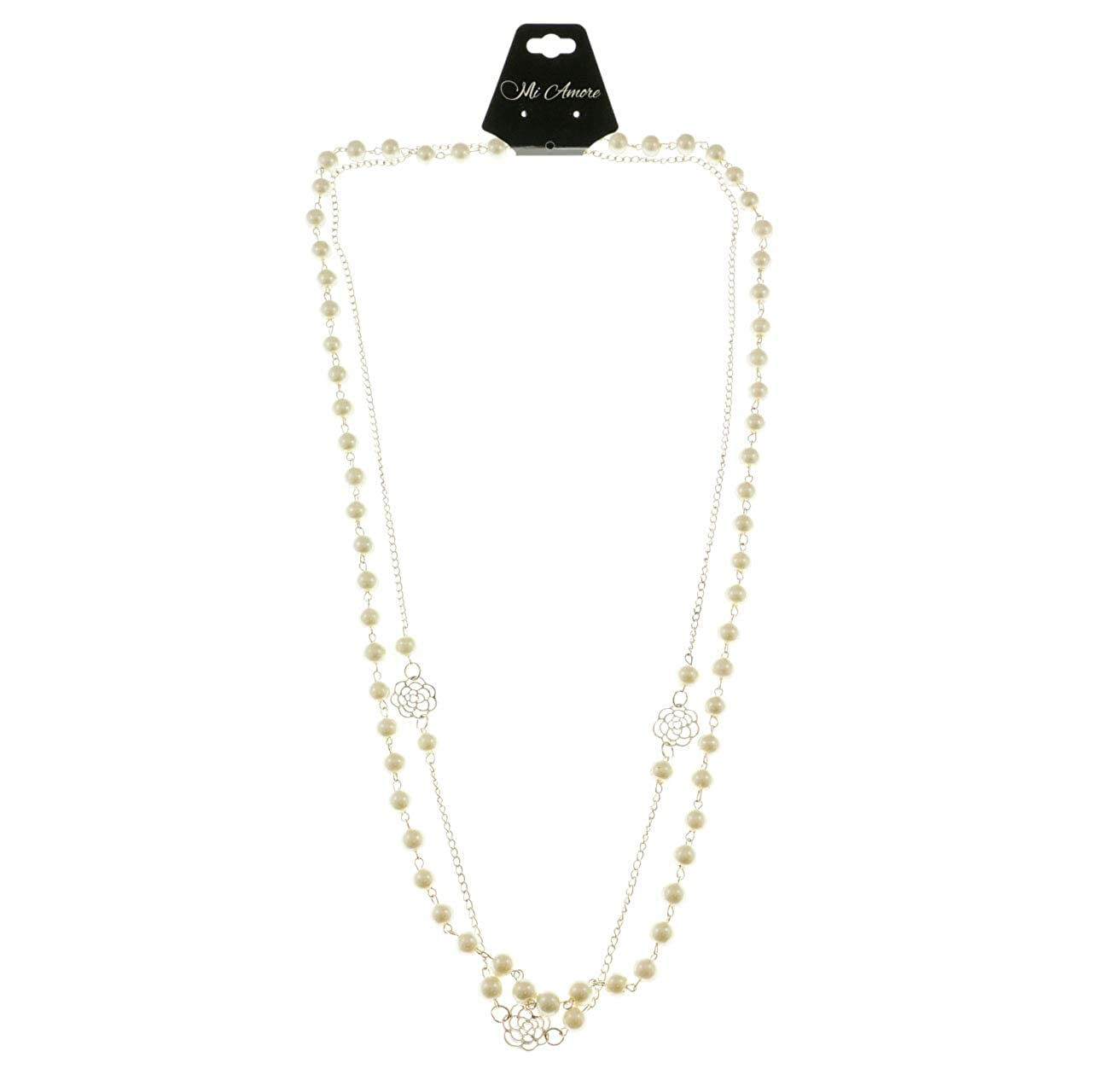 Mi Amore Flowers Statement-Necklace Gold-Tone//White