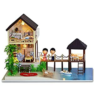 BEAUTY'S CASTLE DIY Maldives Wooden Dollhouse LED Lights Miniature Assembly Furniture Kit 3D Puzzle Crafts Toy And Wooden Frame For Creative Kid Birthday Gifts